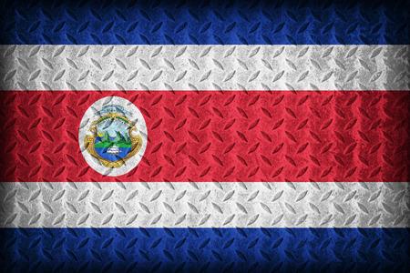 Costa Rica flag pattern on the diamond metal plate texture ,vintage style photo