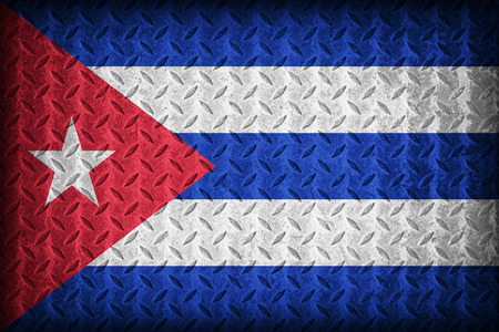 Cuba flag pattern on the diamond metal plate texture ,vintage style photo
