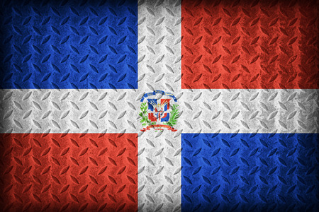 Dominican Republic flag pattern on the diamond metal plate texture ,vintage style photo