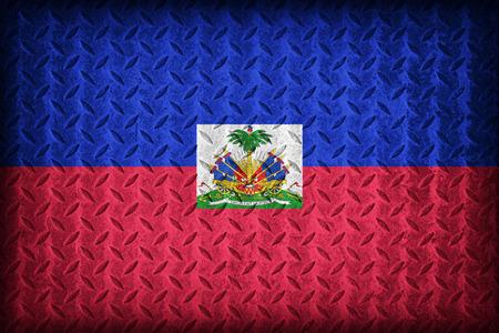Haiti flag pattern on the diamond metal plate texture ,vintage style photo