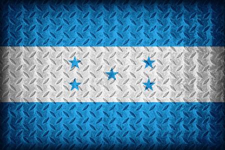 Honduras flag pattern on the diamond metal plate texture ,vintage style photo