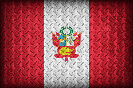 Peru flag pattern on the diamond metal plate texture ,vintage style photo