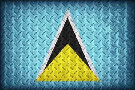 Saint Lucia flag pattern on the diamond metal plate texture ,vintage style photo
