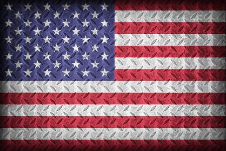 United States flag pattern on the diamond metal plate texture ,vintage style photo