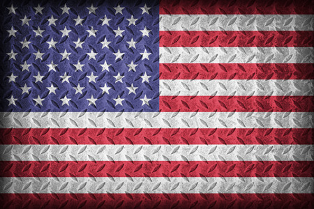 diamond plate: United States flag pattern on the diamond metal plate texture ,vintage style