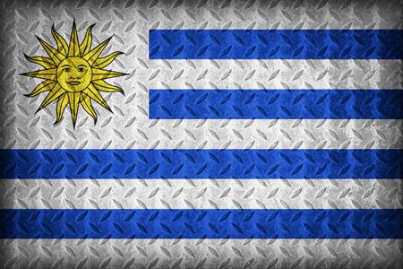Uruguay flag pattern on the diamond metal plate texture ,vintage style photo