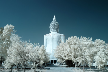 behind sculpture of big buddha at Suphanburi province, Thailand taken in Near Infrared photo