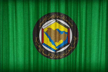 gcc: Cooperation Council for the Arab States of the Gulf flag pattern on the fabric curtain,vintage style