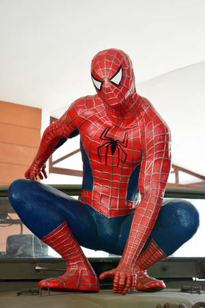 spiderman: AYUTTAYA - OCTORBER. 14: Spider-Man model at Thung Bua Chom floating market on October 04, 2014 in  Ayuttaya, Thailand.