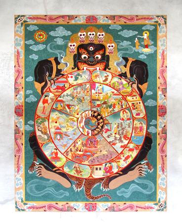 BANGKOK - DECEMBER 23: Wheel of Dharma. Old buddhist fresco at the wall of BIA (Suan Mokkh Bangkok),Thailand. December 23, 2012.