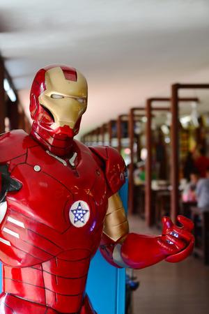 AYUTTAYA,THAILAND - OCTOBER 11, 2014: Iron Man model at Thung Bua Chom floating market