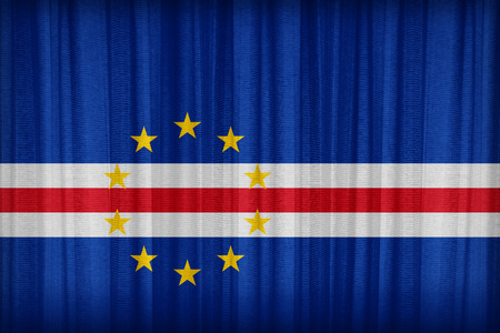 cape verde flag: Cape Verde flag pattern on the fabric curtain,vintage style