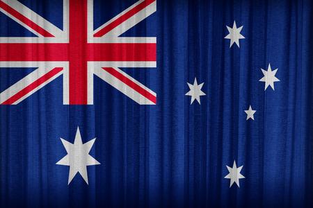 Australia flag pattern on the fabric curtain,vintage style photo