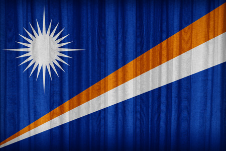 Marshall Islands flag pattern on the fabric curtain,vintage style photo