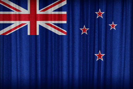 New Zealand  flag pattern on the fabric curtain,vintage style photo
