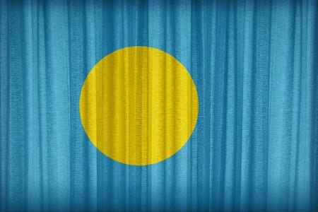 Palau flag pattern on the fabric curtain,vintage style photo