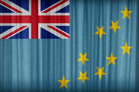 tuvalu: Tuvalu flag pattern on the fabric curtain,vintage style Stock Photo