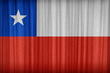 bandera de chile: Patrón de bandera de Chile en la cortina de tela, estilo vintage