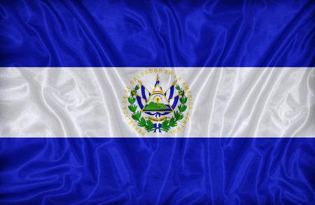 bandera de el salvador: Patr�n de la bandera El Salvador en la textura de la tela, de estilo vintage Foto de archivo
