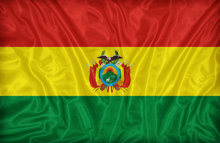 bandera de bolivia: Modelo de la bandera en Bolivia la textura de la tela, de estilo vintage Foto de archivo
