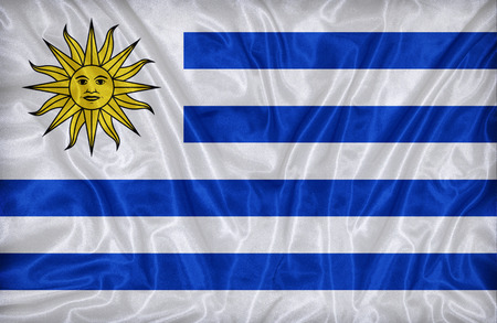 uruguay flag: Uruguay flag pattern on the fabric texture ,vintage style