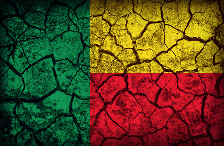 cleavage: Benin flag pattern on the crack soil texture ,retro vintage style