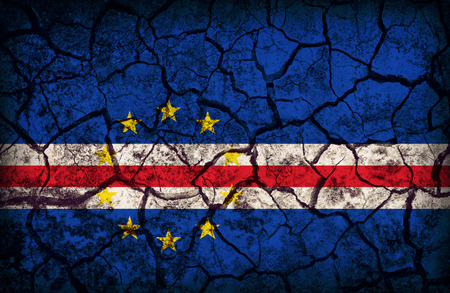 cleavage: Cape Verde flag pattern on the crack soil texture ,retro vintage style