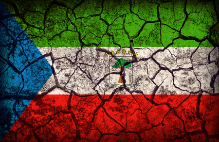 cleavage: Equatorial Guinea flag pattern on the crack soil texture ,retro vintage style