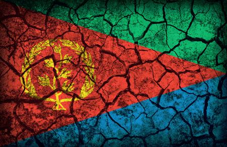 cleavage: Eritrea flag pattern on the crack soil texture ,retro vintage style