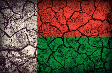 cleavage: Madagascar flag pattern on the crack soil texture ,retro vintage style