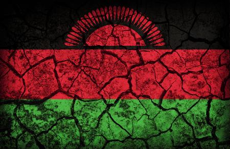 Malawi flag pattern on the crack soil texture ,retro vintage style