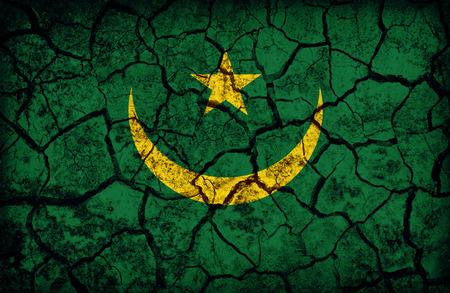 Mauritania flag pattern on the crack soil texture ,retro vintage style