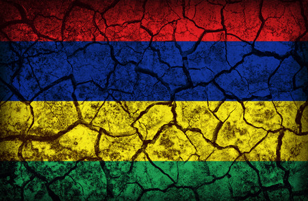 cleavage: Mauritius flag pattern on the crack soil texture ,retro vintage style