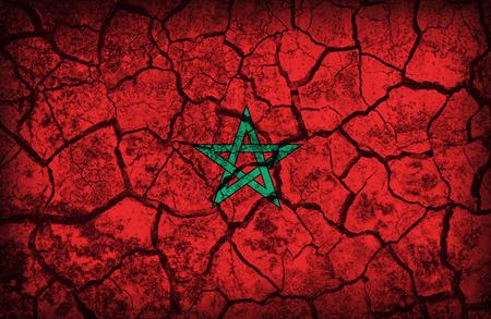Morocco flag pattern on the crack soil texture ,retro vintage style Stock Photo