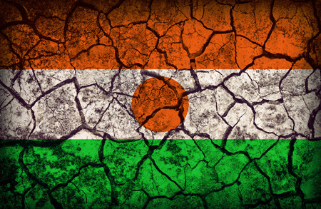 cleavage: Niger flag pattern on the crack soil texture ,retro vintage style Stock Photo