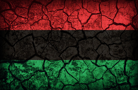 cleavage: Pan-African  flag pattern on the crack soil texture ,retro vintage style