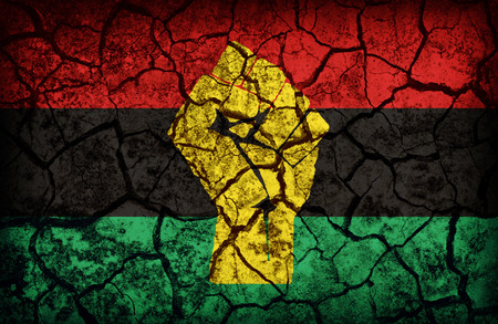 cleavage: Pan-African Resistance and Solidarity flag pattern on the crack soil texture ,retro vintage style