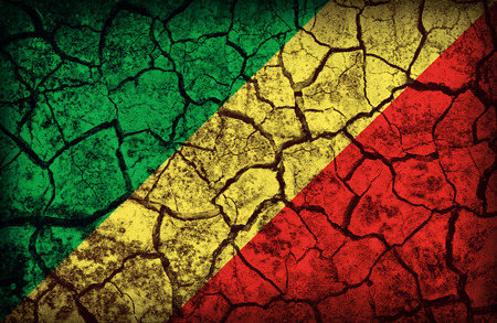 cleavage: Republic of the Congo flag pattern on the crack soil texture ,retro vintage style
