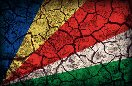 cleavage: Seychelles flag pattern on the crack soil texture ,retro vintage style