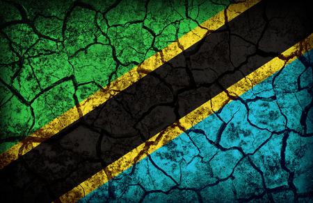 cleavage: Tanzania flag pattern on the crack soil texture ,retro vintage style