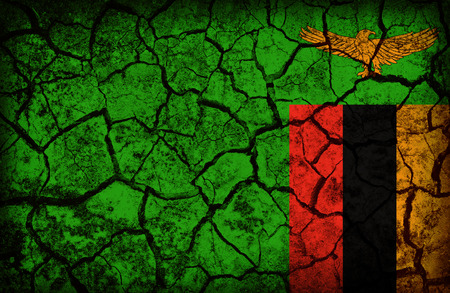 cleavage: Zambia flag pattern on the crack soil texture ,retro vintage style