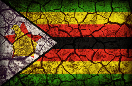 cleavage: Zimbabwe flag pattern on the crack soil texture ,retro vintage style