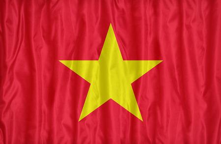 vietnam flag: Vietnam flag pattern on the fabric texture , vintage style