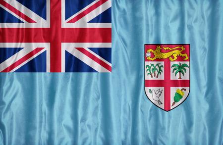 fiji: Fiji flag pattern on the fabric texture ,retro vintage style Stock Photo