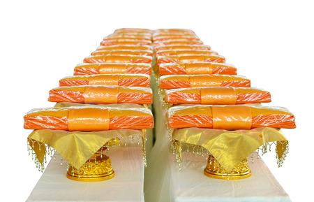 god box: Buddhist monks robe on white background Stock Photo