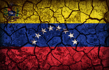 Venezuela flag pattern on the crack soil texture ,retro vintage style