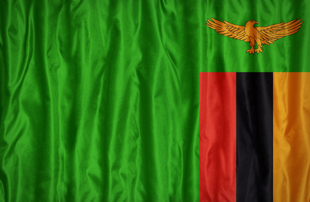 zambia flag: Zambia flag pattern on the fabric texture ,vintage style Stock Photo