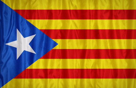 Catalan Independence blue estelada flag pattern on the fabric texture ,vintage style Stock Photo