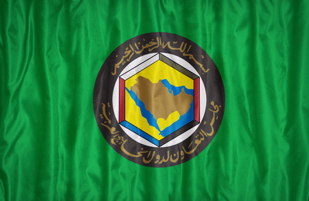 Cooperation Council for the Arab States of the Gulf flag pattern on the fabric texture ,vintage style photo