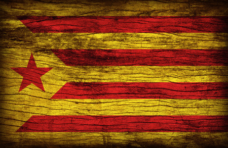 Catalan Socialist Independence red estelada flag pattern on wooden board texture